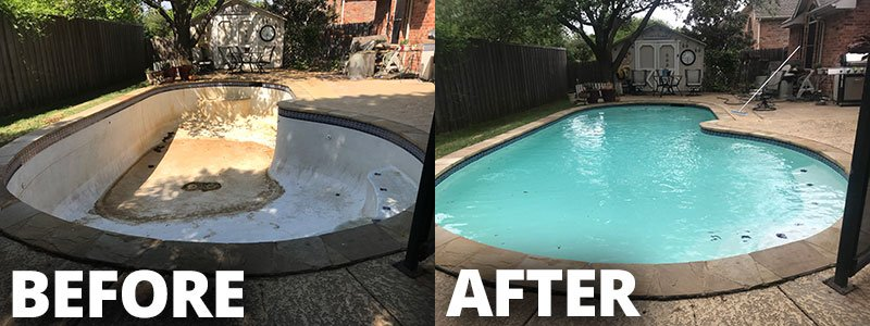 Pool Plaster Refinish - Before & After