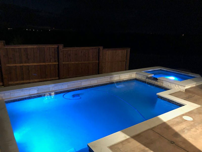 Walsh Ranch pool at night