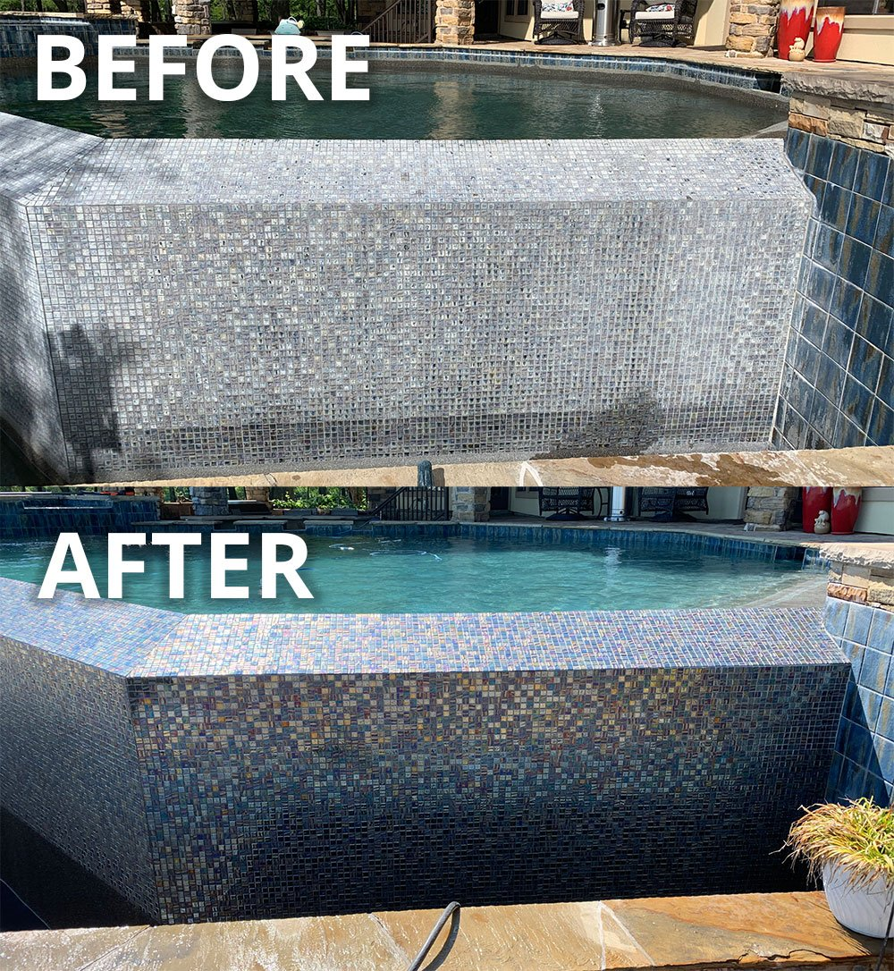 Pool Tile Cleaning - Before & After
