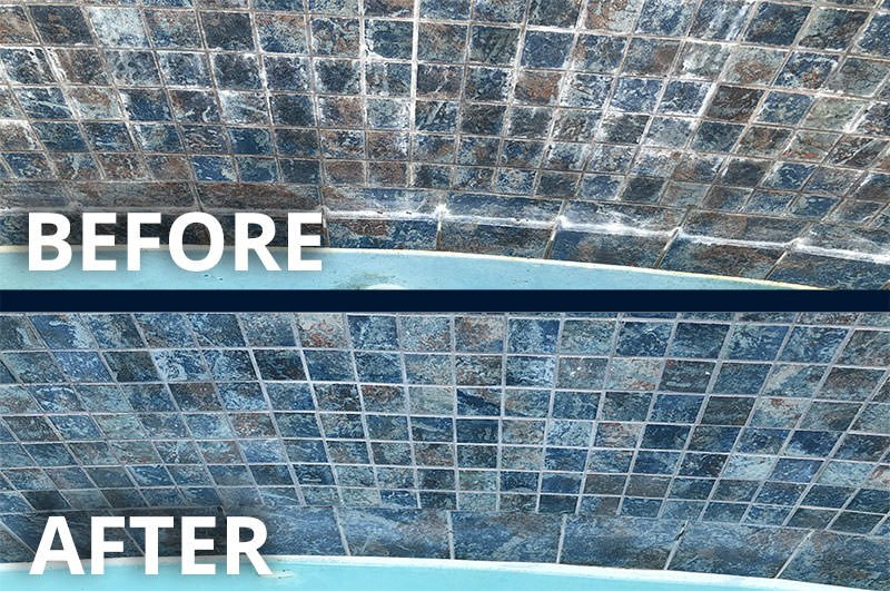 Before & After Pool Tile Cleaning