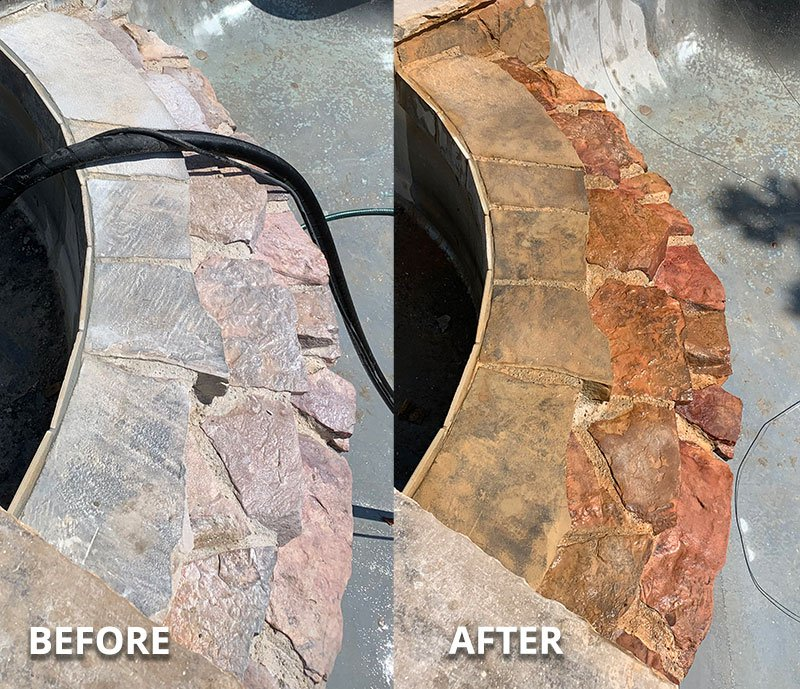 Before & After Pool Rock Calcium Cleaning