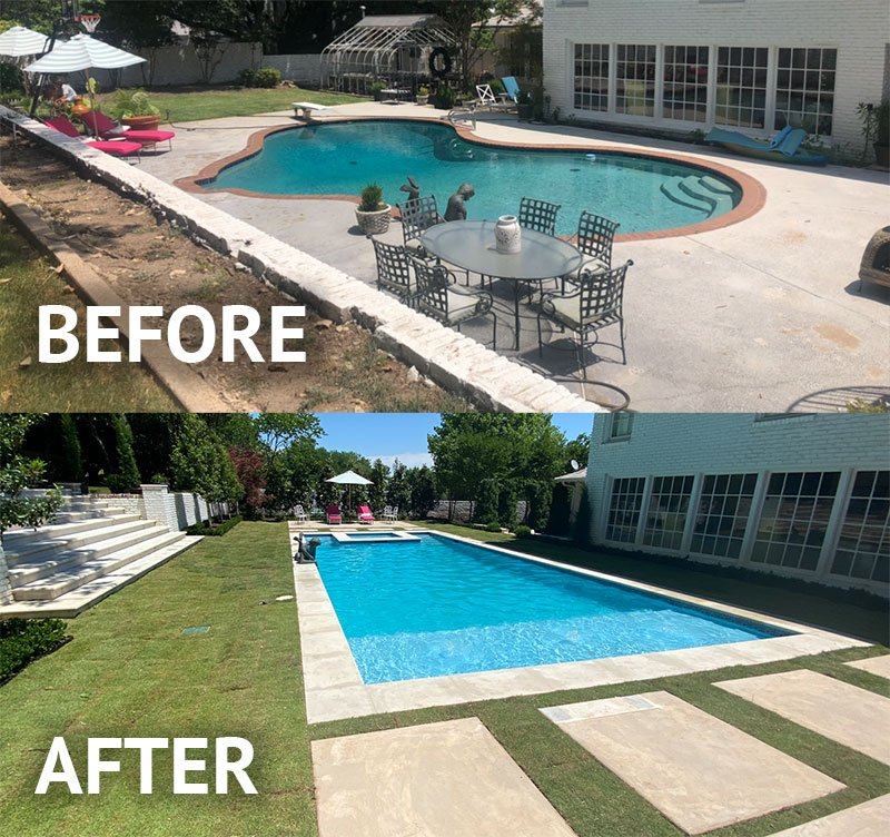 Before & After Picture of Pool Remodel