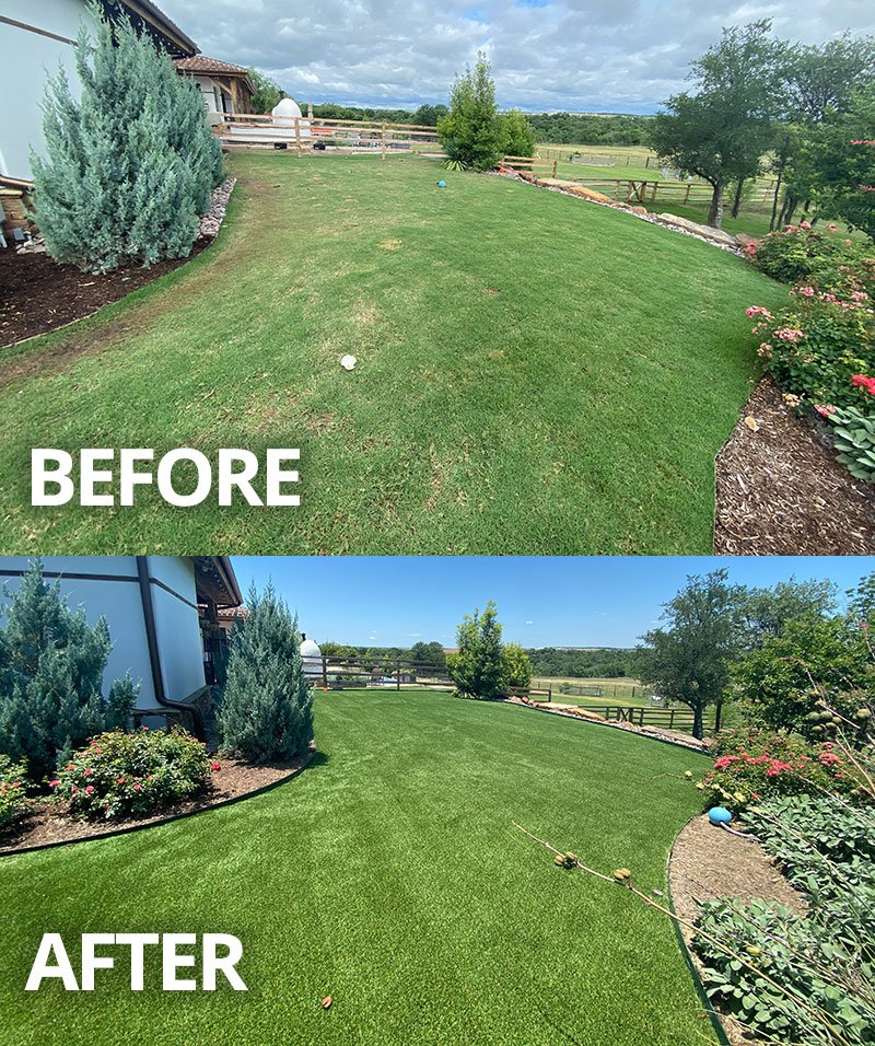 Before and After synthetic grass