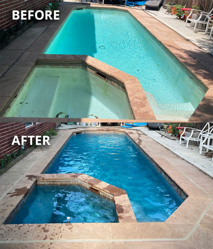 Before & After: Touch of Glass Aqua White pebble pool finish