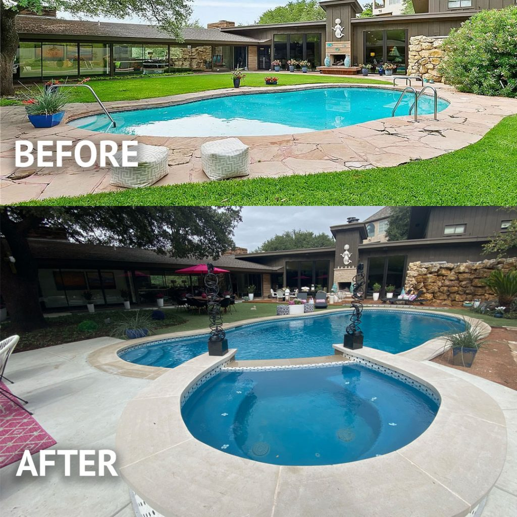 Pool Remodel Before & After Adding Spa