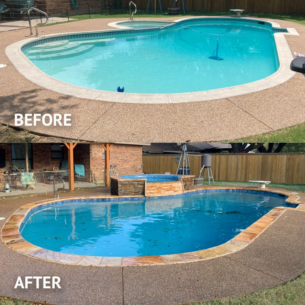 Before & After Pool and Hot Tube Remodel