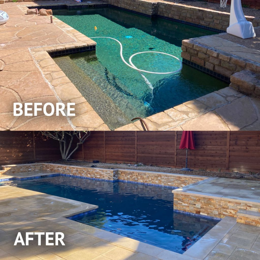 Before and after pool remodel and replaster