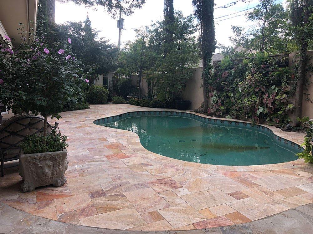 Travertine pool deck tile